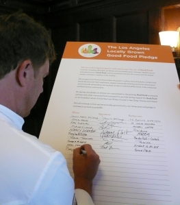 Ben Ford signs the Locally Grown Food Pledge